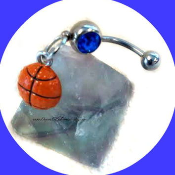Blue BasketBall Belly Ring,Sport Jewelry,March Madness,NavelRing Piercing,Preppy Jewelry, Body Jewelry,Team, Ready to Ship, Direct Checkout