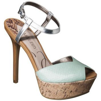 Women's Sam & Libby Margot Open Toe Pump - Turquoise/Brown