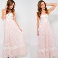 Vintage 70s GUNNE SAX Dress Pink Floral Prairie Dress Hippie Maxi Dress Boho WEDDING Dress