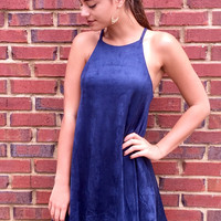 Suede Sunday Dress - Navy