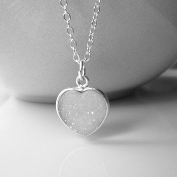 White Heart Druzy Necklace / Sterling Silver and Snow White Drusy / Heart Shaped Druzzy Necklace/ Silver and Druzy Necklace / White Stone