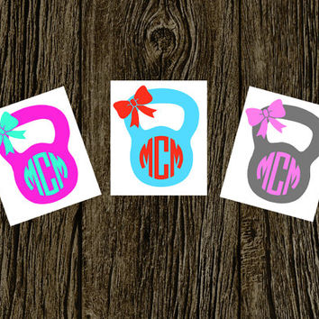 KettleBell Monogramed Decal | Personalized | Custom | Monogrammed | Fitness | Girls Who Lift | Barbell | Weight | Car Decal | Car Sticker