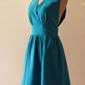 Teal Bridesmaid Dress, Vintage Inspired Jade Blue Teal party Dress, Wedding Party Dress, Teal Prom Dress, Tea Dress - XS-XL,custom