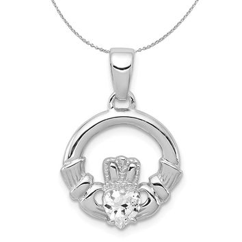 Sterling Silver and Cubic Zirconia Claddagh 15mm Necklace