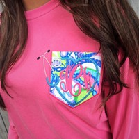 Comfort Color Long Sleeve Nursing Pocket Tee with Lilly Pulitzer