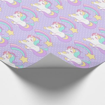 Cute Unicorn with Colorful Shooting Star Wrapping Paper