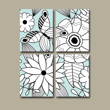 Flower Wall Art Canvas Bedroom Decor Butterfly Custom Colors Floral Set of 4 Prints Bathroom Bedroom Decor Shower Curtain Bedding Comforter