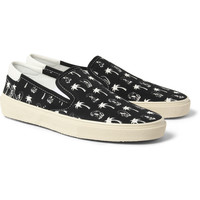 Saint Laurent - Printed Canvas Slip-On Sneakers | MR PORTER