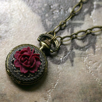 Red Rose Pocket Watch Necklace