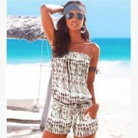 DCCKVQ8 Fashion Casual Multicolor Print Off Shoulder Strapless Shorts Romper Jumpsuit