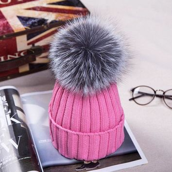 DCCKWQA New  Autumn Winter women cap real fox fur ball hat Pom poms 15CM woollen cap female thick protect ear warm  Beanies Headgear