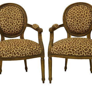19th-C. Louis XVI-Style Chairs, Pair