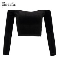 Gothic Off Shoulder Backless Slim Sexy Casual T-shirt Top