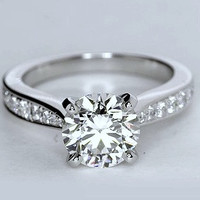 3.99ct G-SI1 Platinum Round Diamond Engagement Ring JEWELFORME BLUE