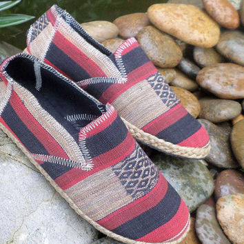 Tribal Mens Shoes Espadrille Loafer Style in Ethnic Naga Textiles Vegan
