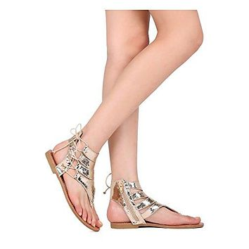 Liliana Women Cracked Leatherette Flat Sandal - Gladiator