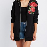 Rose Patch Zip-Up Hoodie | Charlotte Russe