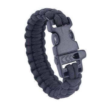 ICIKUH3 Military Army Camping Hiking Climbing Paracord Bracelet Survival Gear Kit Whistle Lifesaving Braided Rope Tactical Wrist Band