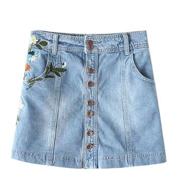 Blue Light Wash Embroidery A-line Denim Skirt