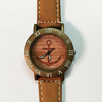 Anchor on Wood Watch , Vintage Style Leather Watch, Women Watches, Mens Watch,  Unisex Watch, Boyfriend Watch, Silver Case ,