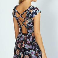Jane Cap Sleeve Floral Laced Back Skater Dress