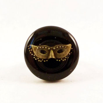 Antique Brass Adjustable Ring With A Mask Coated in Crystal Clear Resin