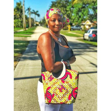 SWAGG Ankara Print Tote Bag with Wallet and Wood Handle