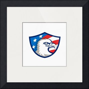 """Bald Eagle Head USA Flag Shield Retro"" by Aloysius Patrimonio"