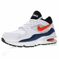 "Nike Air Max 93 OG Retro Running Shoes  ""White&Navy&Red""306551-102"