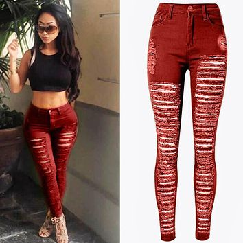 Women Denim Skinny Ripped Pants High Waist Stretchy Longline Destroyed Frayed Jeans Long Pencil Trousers