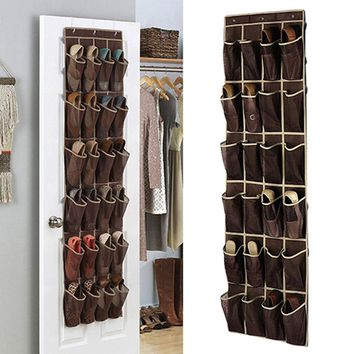 Free Shipping 24 Pockets Wardrobe Storage Organizer Bag Hanging Closet Shelves Shoes Underwear Clothing Organizadores Para Casa
