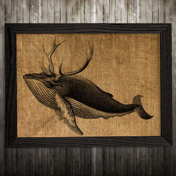 Marine poster Whale print Burlap print Nautical decor BLP472