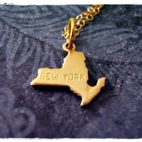 Tiny Gold New York State Necklace - Raw Brass New York Charm on a Delicate 18 Inch 14KT Gold Filled Cable Chain