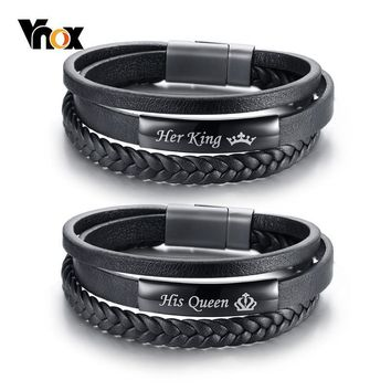 Cool Vnox His Queen and Her King Couple Bracelets Black Braided Genuine Leather Promise Love pulseira GiftsAT_93_12