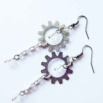 Steampunk Style Industrial Gear Earrings, Silver, Chained With Clear Swarovski Crystals, Gunmetal Ear Wires