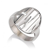 Sterling Silver Cut Out Monogram Ring