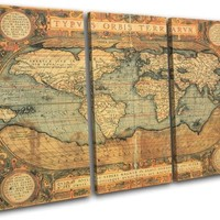 Bold Bloc Design - Old World Atlas Maps Flags - 90x60cm Canvas Art Print Box Framed Picture Wall Hanging - Hand Made In The UK - Framed And Ready To Hang