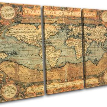 Bold Bloc Design - Old World Atlas Maps Flags 90x60cm TREBLE Canvas Art Print Box Framed Picture Wall Hanging - Hand Made In The UK - Framed And Ready To Hang