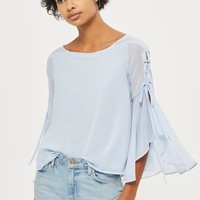 Eyelet Lace Up Flute Sleeve Top
