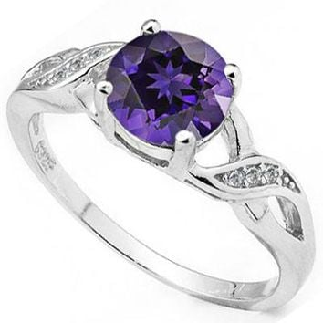 Genuine Amethyst Round Twist Sterling Silver Ring