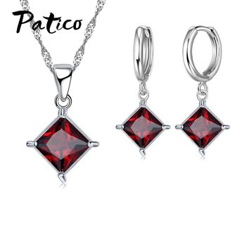 PATICO Classic Bridal Jewelry Sets For Brides Bridesmaid 925 Sterling Silver Shiny Cubic Zircon CZ Crystal Earrings Necklaces
