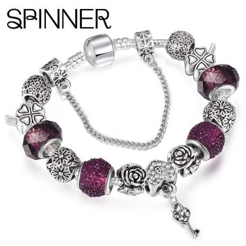 SPINNER Love style vintage heart and key dangle charm bracelet women snake chain Pandora bracelet jewelry
