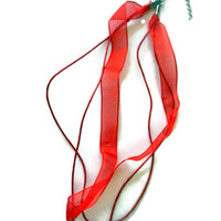 Red or Blue Organza Ribbon Necklace