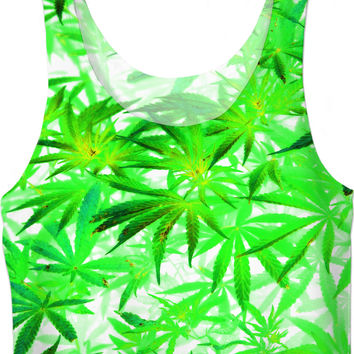 420 trippy ganja pattern, ligh green pot, marihujana leafs girls crop top