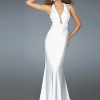 Elegant Customer Made New Design White Cross Neck Straps V Neck Evening Dress - Basadress.com