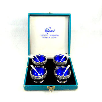 Vintage Silverplate and Cobalt Glass Salt Cellars with Spoons by Raimond Silversmiths