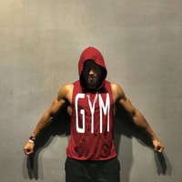 Fitness Men Bodybuilding Sleeveless Muscle Hoodies Workout Clothes Casual Cotton Tops Hooded Tank Tops