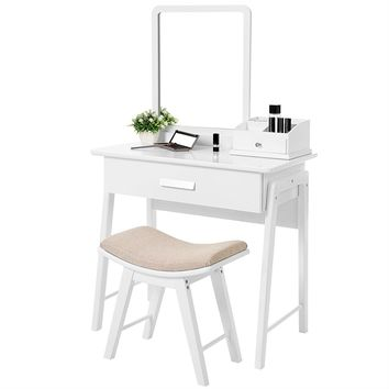 Vanity Table Set White in Color with Square Mirror and Makeup Organizer