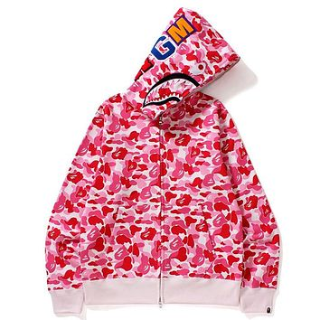 BAPE Tide brand thin shark head zipper hooded sweater pink