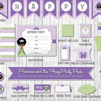 Tiana, Birthday Party Decorations, DIY ,Girl, Princess and the Frog, African, Purple, Disney, Stylish, Little Girl, Instant Download